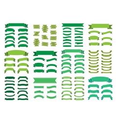 Green banners big set Beautiful blank decoration vector image vector image