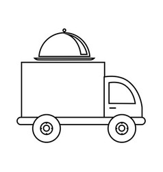 Monochrome contour with food truck vector