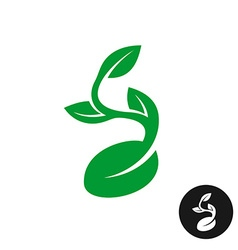 Sprout logo One shape style plant with seed and vector image