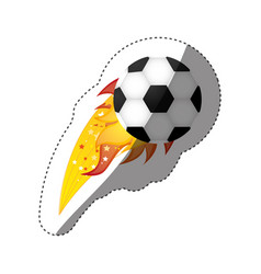 Sticker colorful olympic flame with soccer ball vector