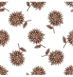 Vintage autumn dahlia pattern vector