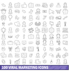 100 viral marketing icons set outline style vector image