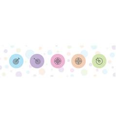 5 dartboard icons vector