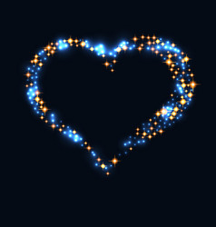 abstract design - blue glitter particles in heart vector image