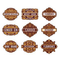 alcohol drinks retro label floral embellishments vector image