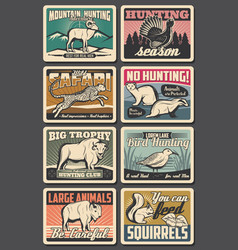 animals hunting or poaching season hunter club vector image