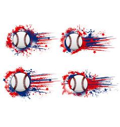 Baseball ball in paint splash grunge banner print vector