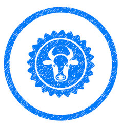 Beef certificate seal rounded grainy icon vector
