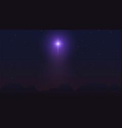bethlehem star over mountains dark night starry vector image