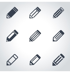 black pencil icon set vector image