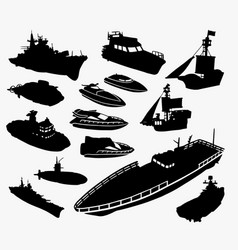 Boat and ship transportation silhouette vector