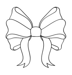 Bow outline symbol of ribbon tied in knot vector
