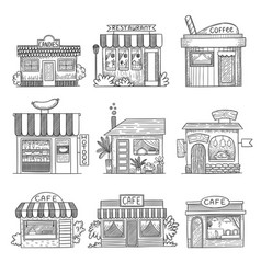 Cafe buildings hand drawn shop restaurants small vector