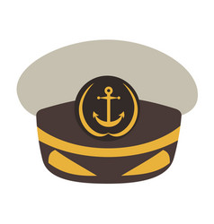 Captain hat flat style vector