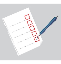 Checklist on paper sheet and pen vector image