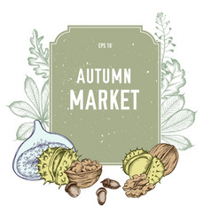 Collection of hand drawn autmn market vector