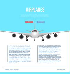 commercial airlines poster with jet airplane vector image