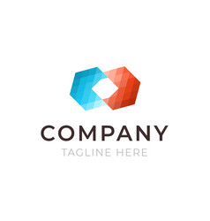 company hexagon logo template business identity vector image