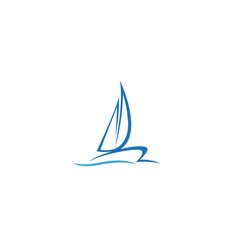 Creative blue yacht boat logo design symbol vector