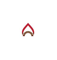 Creative oven fire flame symbol logo design vector