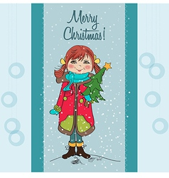 Cute and happy young girl with a Christmas tree in vector