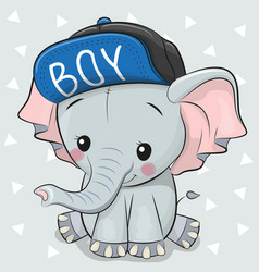 cute cartoon elephant on a white background vector image