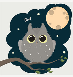 cute cartoon owl with a full moon halloween poster vector image