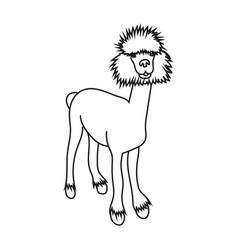 Cute character stand alpaca vector