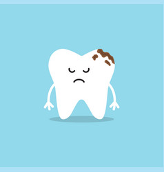 Cute tooth characters tooth with caries vector