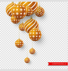Decorative 3d christmas brown balls with pattern vector