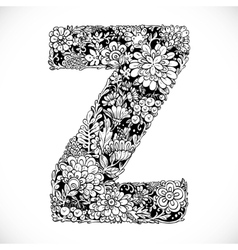 Doodles font from ornamental flowers - letter Z vector