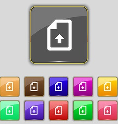 Export upload file icon sign set with eleven vector