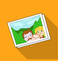Family photo portrait icon in flat style isolated vector