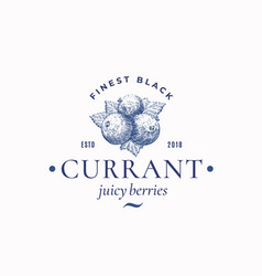 Finest black currant abstract sign symbol vector