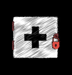 Flat shading style icon first aid kit on the lock vector