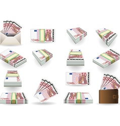 full set of ten euros banknotes vector image