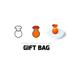 Gift bag icon in different style vector image