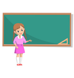 Girl with braids in pink near school chalkboard vector