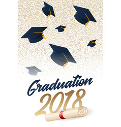 Graduation 2018 poster with hat vector