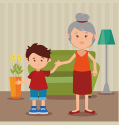 Grandmother with grandson in the livingroom vector
