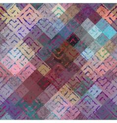 Grunge ethnic pattern on blur background vector