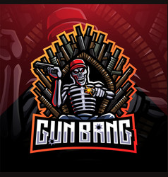 Gun bang skeleton king esport mascot logo vector