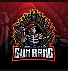 gun bang skeleton king esport mascot logo vector image