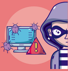 hacker with symbols cartoons vector image