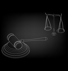 hammer judge scales of justice vector image