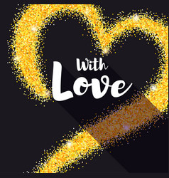 hand-drawn golden heart with glitter with love vector image