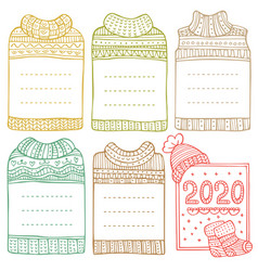 Hand-drawn winter frames in shape sweaters vector