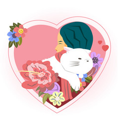 happy valentines day with hug girl and cat vector image