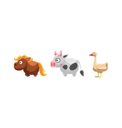 horse co and goose funny cartoon farm animals vector image