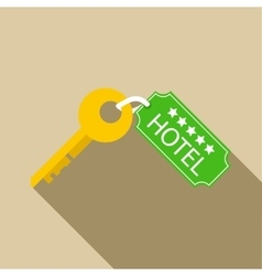 Hotel key icon in flat style vector